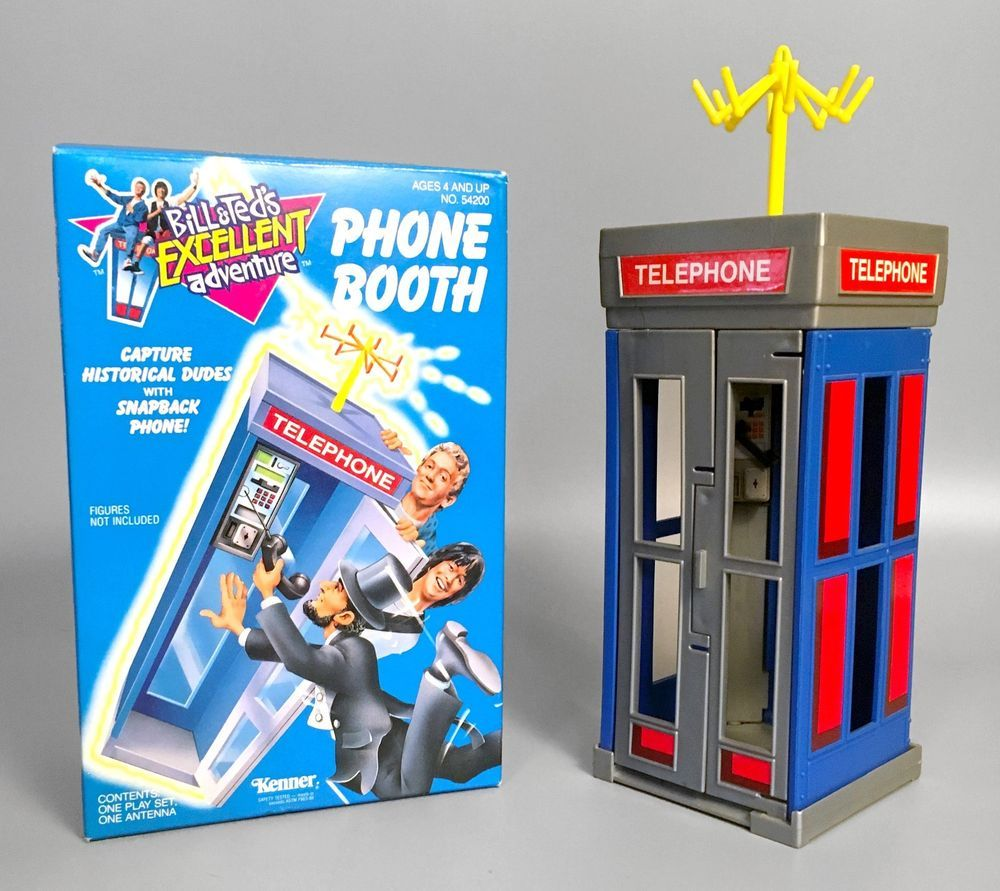 Rare 1991 Bill Ted S Excellent Adventure Phone Booth Playset In Box Kenner Kenner Phone Booth Playset