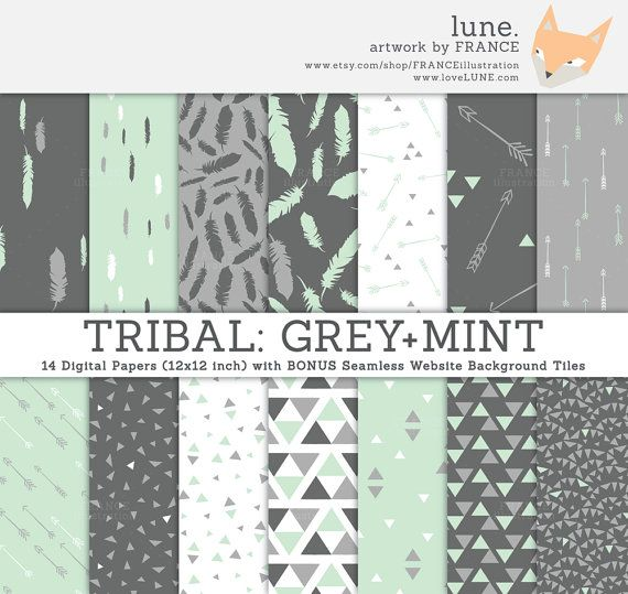 3 For 2 Tribal Digital Paper Grey Mint Seamless Tile Patterns For Website Blog Feather Arrow Triangle Geo Gray Silver Green Digital Paper Blog Backgrounds Digital Sticker