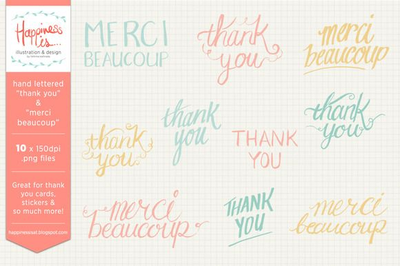 "Hand Lettering - ""Thank You"" & ""Merci Beaucoup"" stock graphic set on Creative Market"