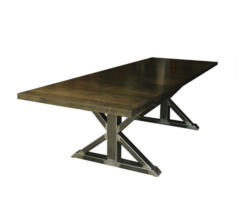 Distressed Steel Trestle Conference Room Table With Antiqued Wood