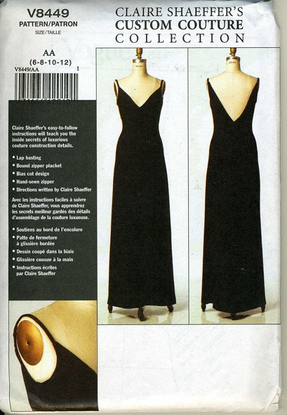 Vogue 8449 UNCUT Claire Shaeffer Custom Couture Formal Dress Sewing ...