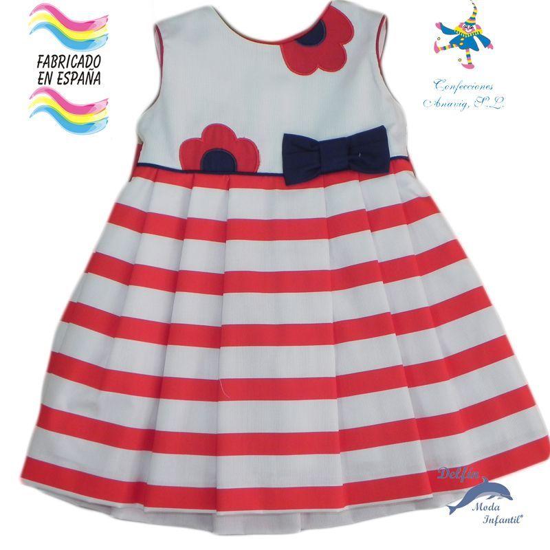 Vestido de bebe PIZPIRETA de piqye marinero rayas rojas