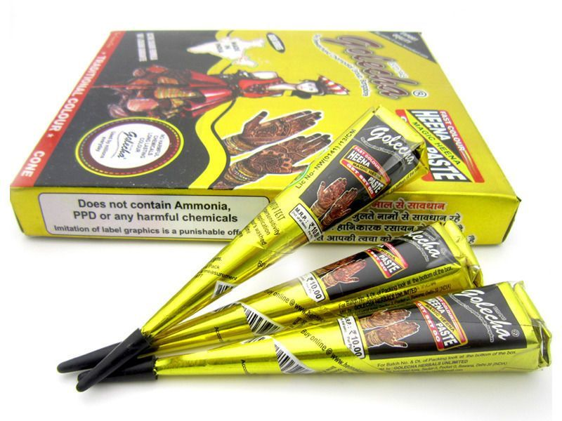 6 Golecha Henna Cones And Tubes For Temporary Henna Art Work Black
