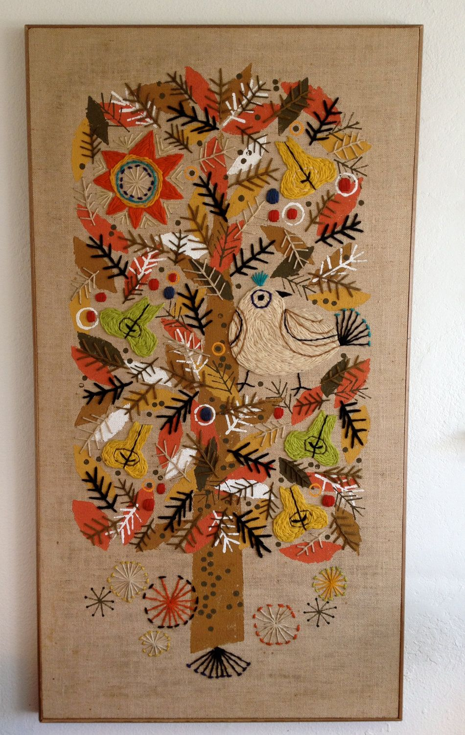 Vintage Crewel Art Wall Hanging Crewel Embroidery