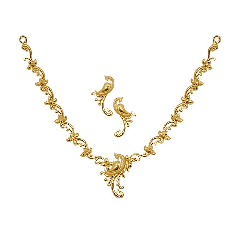 Gold | Necklace | Fancy Gold Peacock Necklace Set | wedding ...