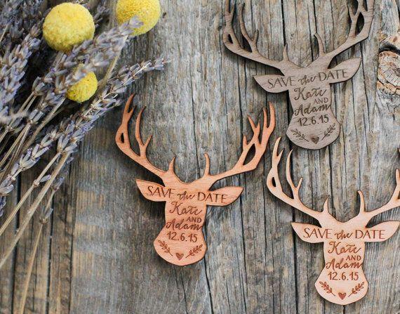 rustic deer wedding Wooden Save the date Wood Magnet Deer Save the date magnet Rustic Save the Date Wood Save the Date Wood Magnet