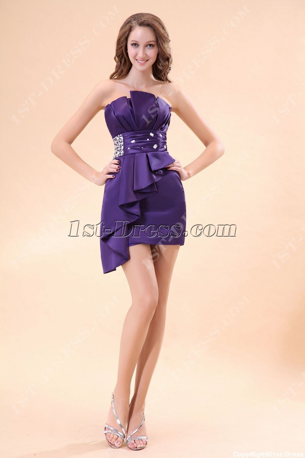 Purple strapless club cocktail dress1st dress cocktail strapless satin purple cocktail dress under 100 ombrellifo Image collections