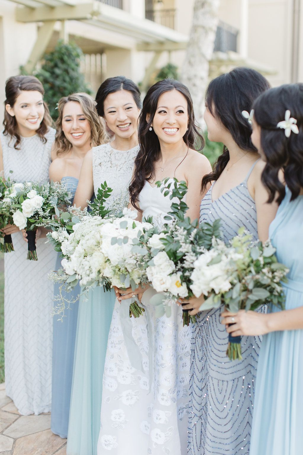 From Beautiful Blues To Sweet Slushies This Hawaiian Wedding Gets It Oh So Right Light Blue Bridesmaid Dresses Bridesmaid Colors Mismatched Bridesmaid Dresses Blue