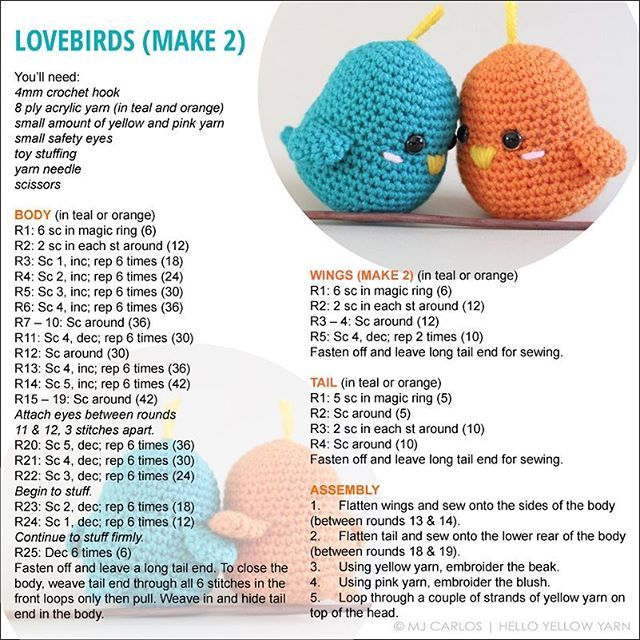 Here is the pattern for the lovebirds! The pattern and assembly ...