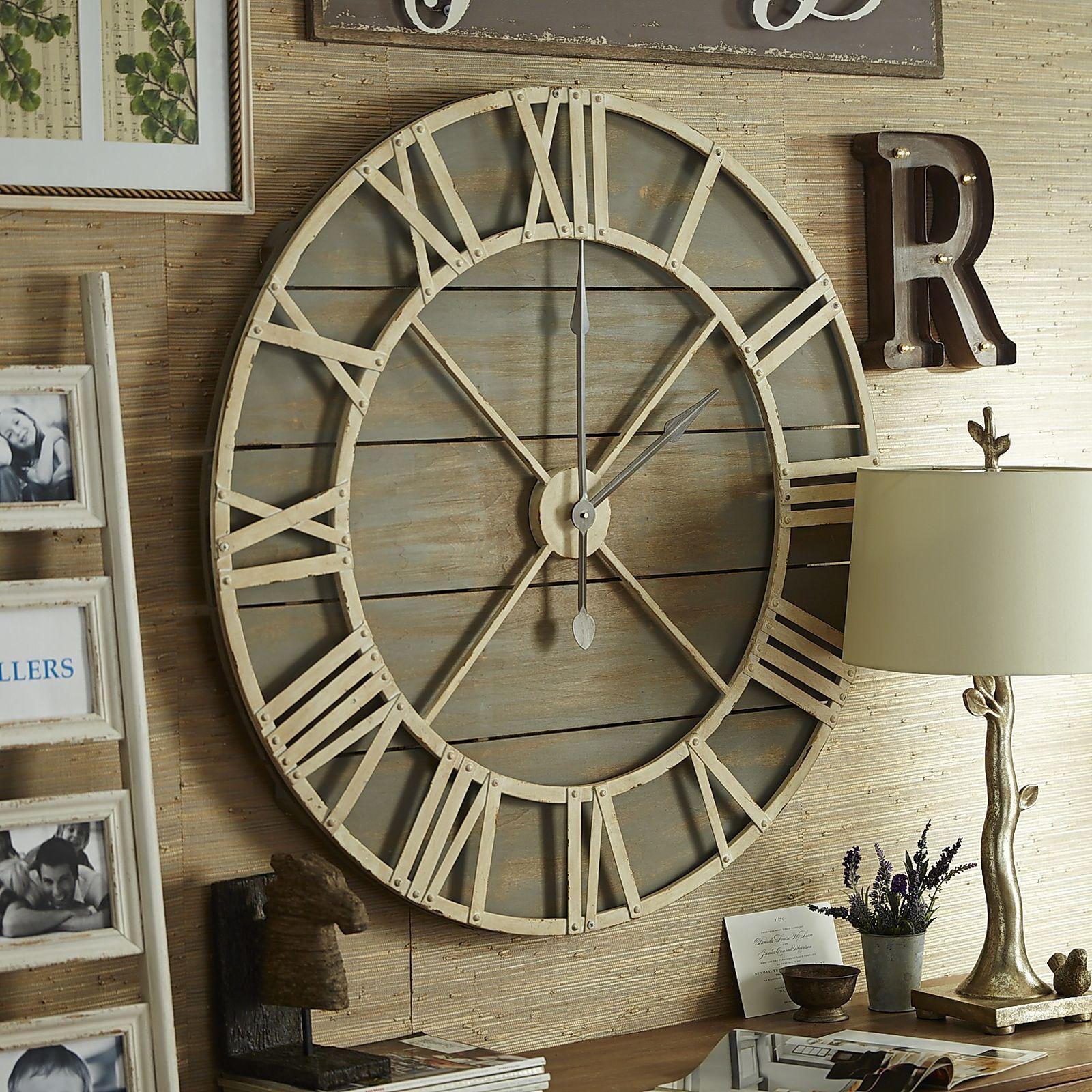 Oversize Gray Rustic Wall Clock Rustic Wall Clocks