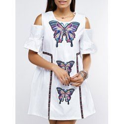 SHARE & Get it FREE | Open Shoulder Bell Sleeve Butterfly Embroidered DressFor Fashion Lovers only:80,000+ Items • FREE SHIPPING Join Twinkledeals: Get YOUR $50 NOW!
