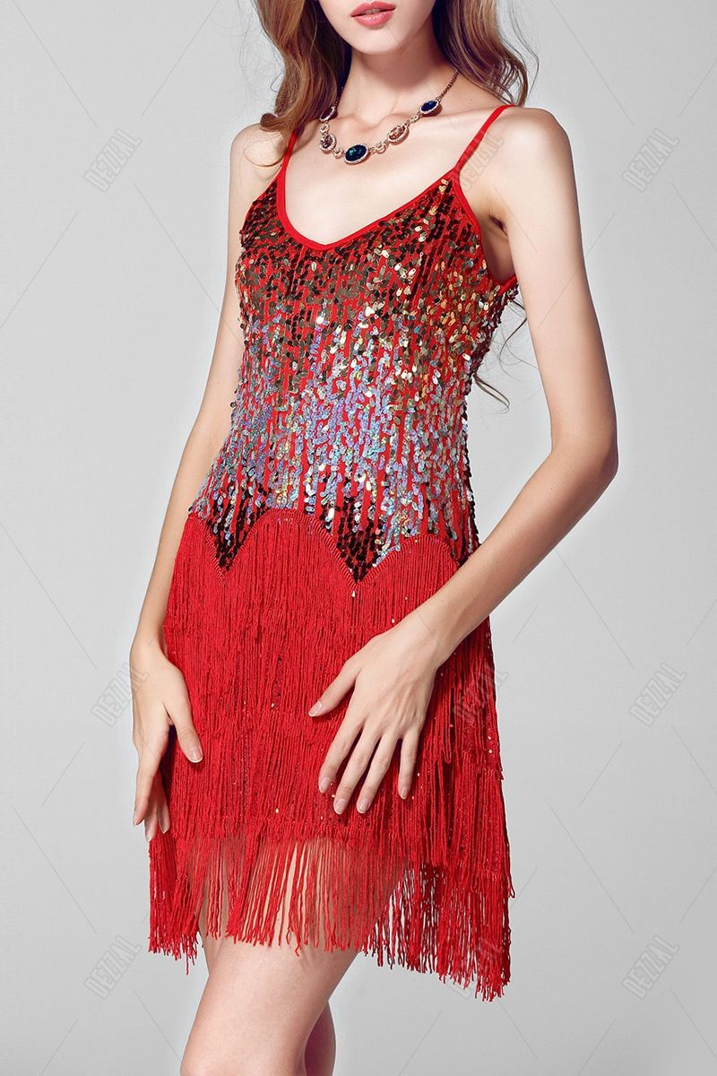 Sequined Tassel Cami Stage Dress
