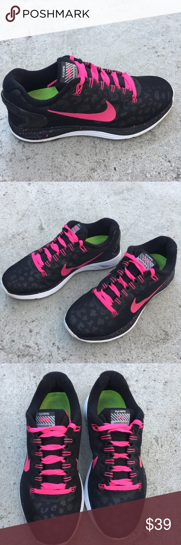100% authentic a6348 0d988 Nike lunarglide 5 H2O repel leopard pink blck shoe Very good condition Nike  Shoes Sneakers