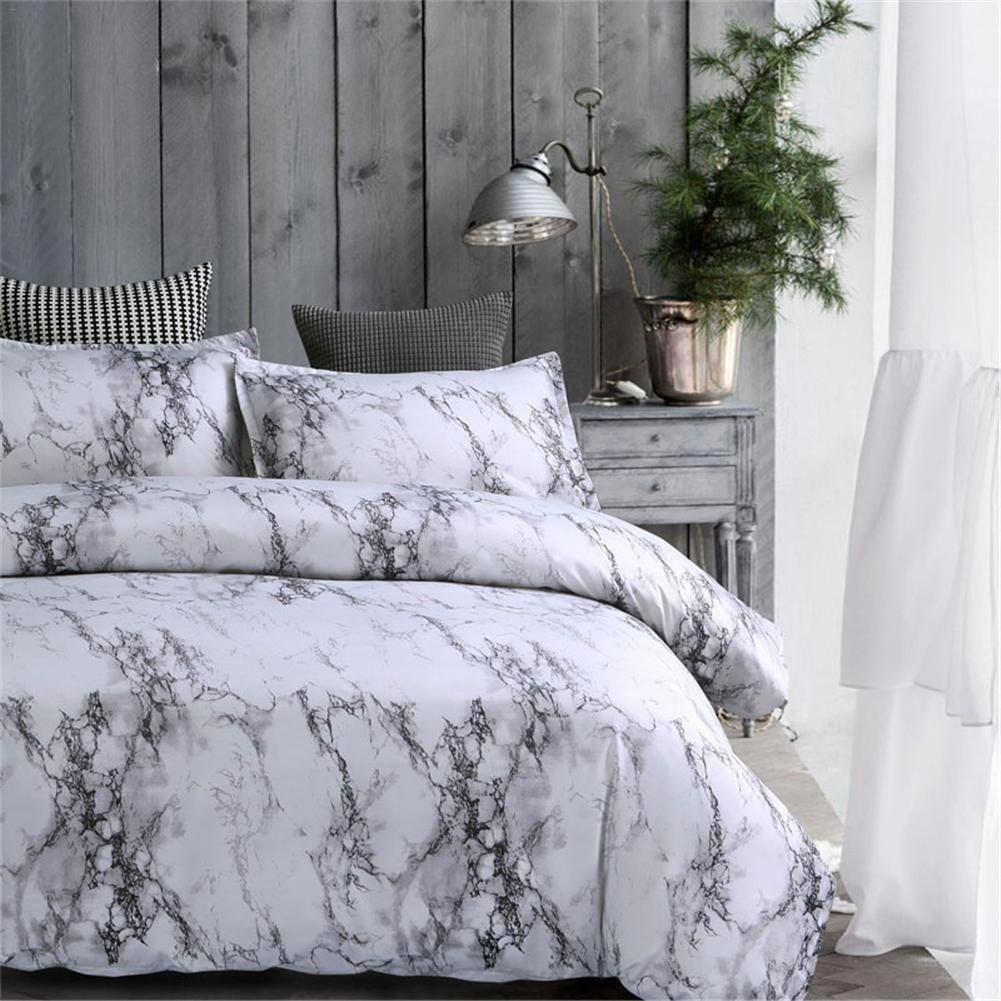 3 Pcs Gray Bedroom Comforter Bedding Set Twin Queen King Beds Grey And White Comforter Marble Bed Set Comfortable Bedroom