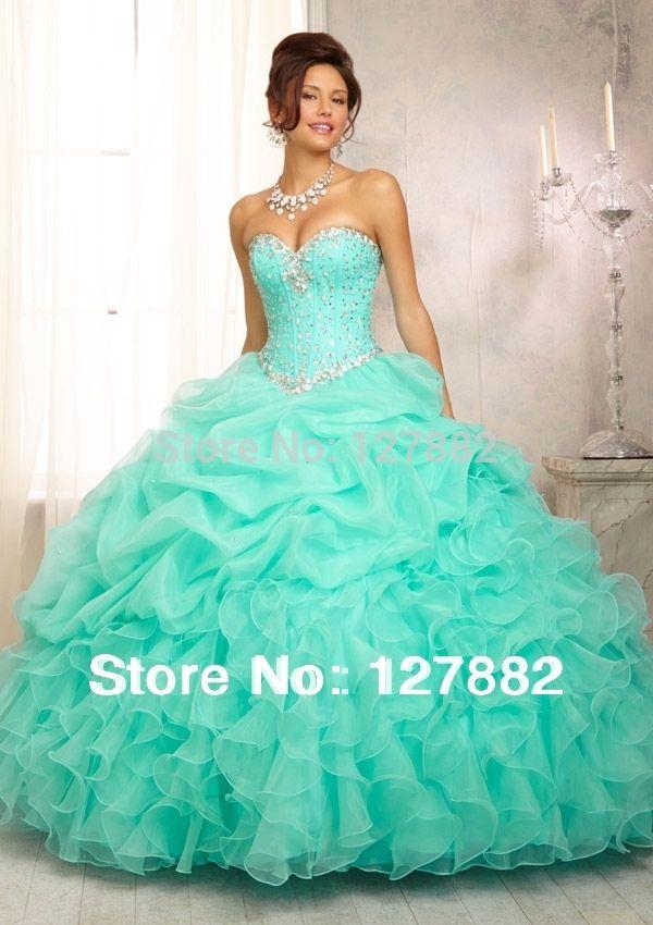 vestidos de xv años color azul turquesa con plata del hombro novia ...