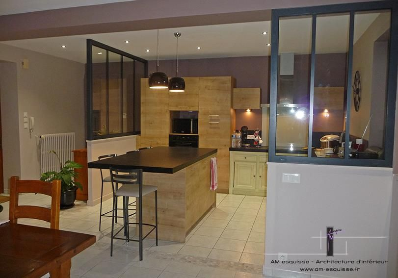 Idea for an open kitchen with canopy idée pour une cuisine ouverte