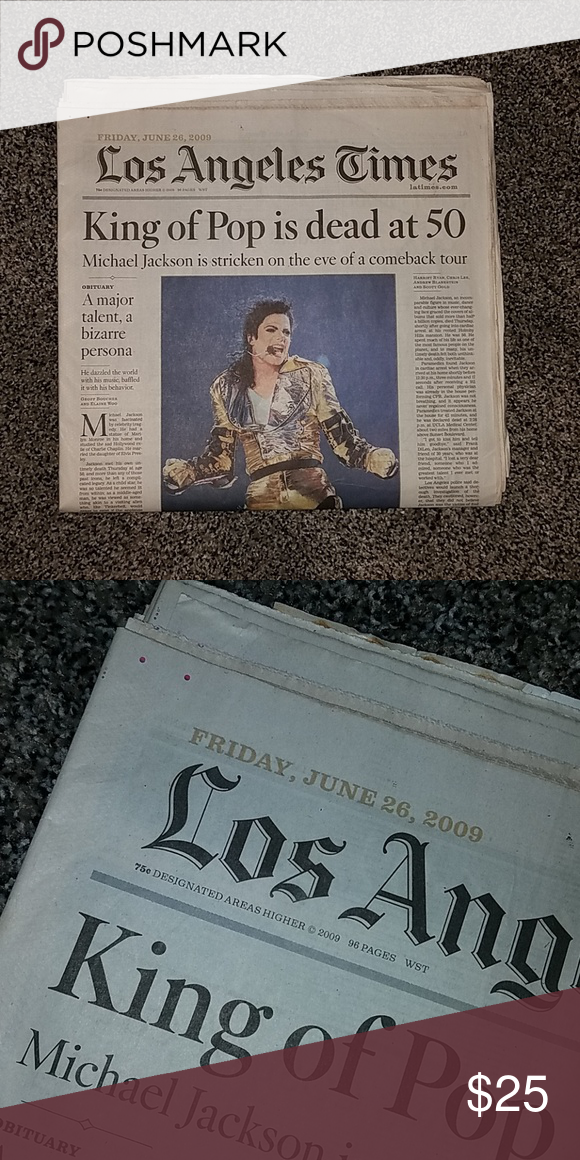 Los Angeles Times Michael Jackson Dead At 50 Michael Jackson Jackson King Of Pops