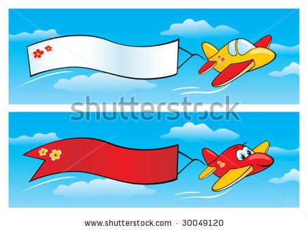 Cartoon Airplane With Banner Two Vector Cartoon Airplanes With