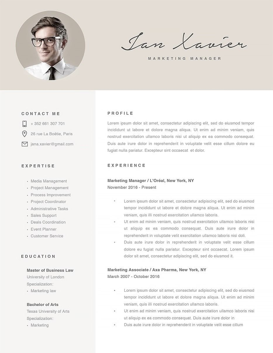 Modern Resume Template   Ms Word Resume Templates