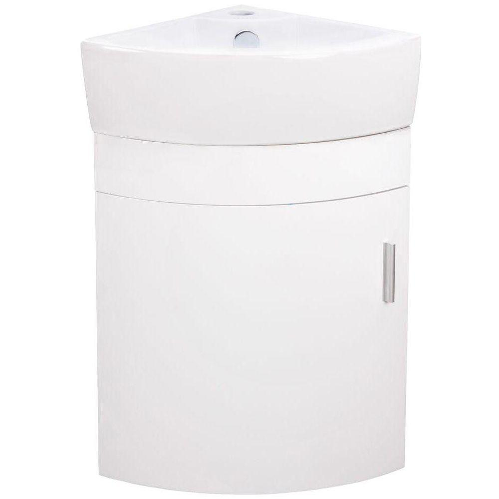Elanti 17 5 In Vanity Cabinet With Porcelain Wall Mounted Corner Bathroom Sink In White Ec9808p Sv The Corner Sink Bathroom Vanity Cabinet Wall Hung Vanity