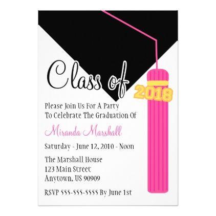 Class Of 2018 Tassel Graduation Invite Pink Various Invitations