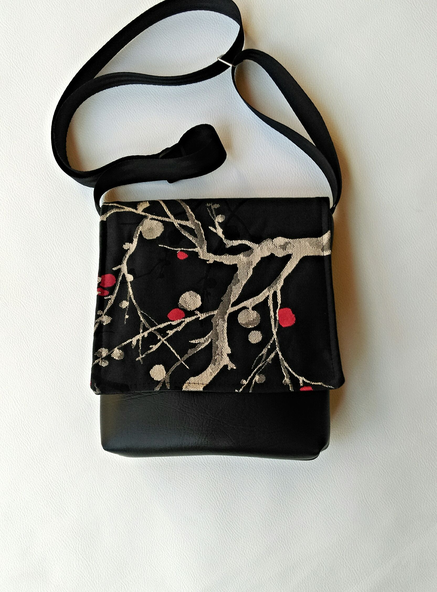 "Japanese""Kyoto"" medium weight decor fabric feature flap messenger bag. Unique one of a kind fabric placement. Only four in this series!"