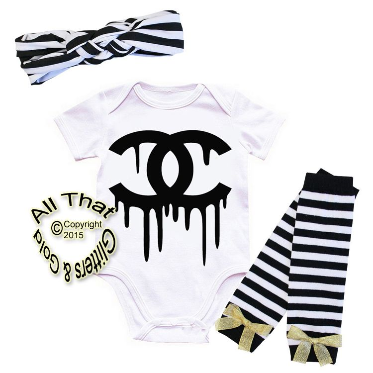 b62e7bb137e33 Black and Gold Fake Chanel Baby Girl Outfit