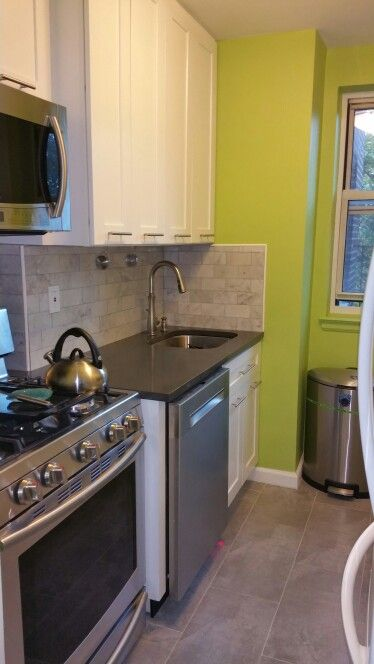 Beau Finished Kitchen: Benjamin Moore Pear Green Paint, Carrera Marble Tiles,  Shadow Grey Quartz
