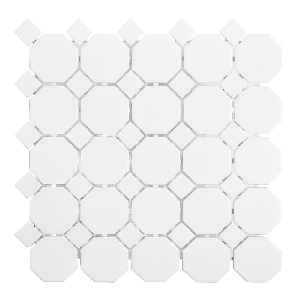 Jeffrey Court Retro Octagon White Dot 11 1 2 In X 11 1 2 In X 6 Mm Octagon Matte Porcelain Wall And Floor Mosaic Tile 96025 The Home Depot In 2020 Mosaic Flooring Porcelain Mosaic Tile Porcelain Mosaic