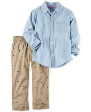 ae692406a Carter's 2-Pc. Chambray Shirt & Dino-Print Canvas Pants Set, Baby Boys  (0-24 months) - Blue 6 months