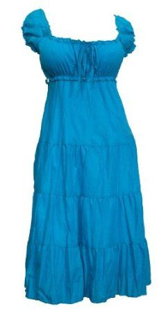fe352bb4f54 Plus Size Blue Cotton Empire Waist SunDress