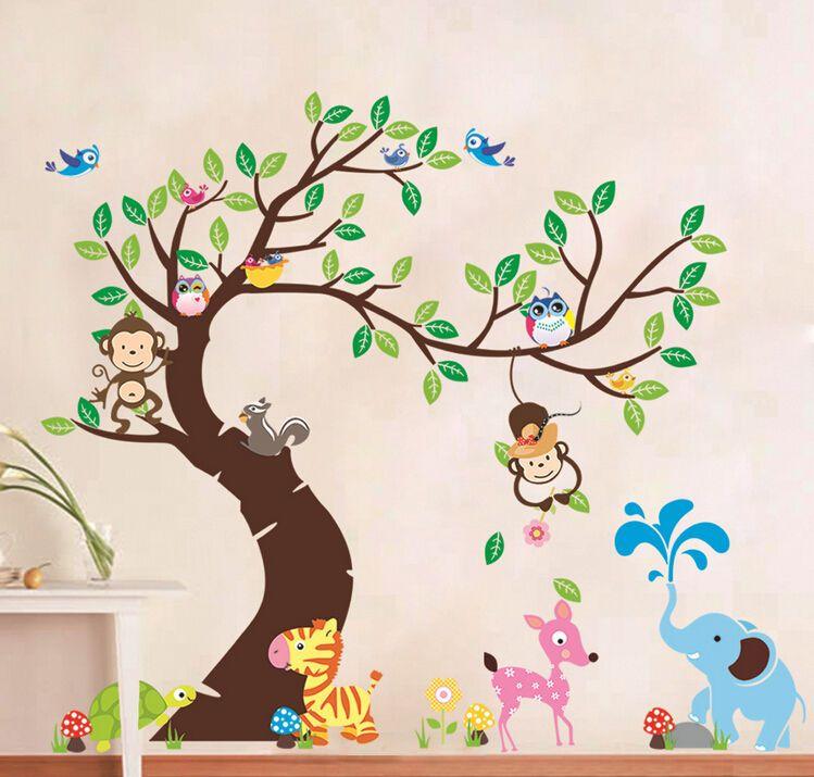Xxxl Wandtattoo Wand Aufkleber Zoo Affe Elefant Eule Baum Vogel Kinderzimmer Kinder Zimmer Wandtattoo Kinderzimmer Tiere Wandbilder Kinderzimmer