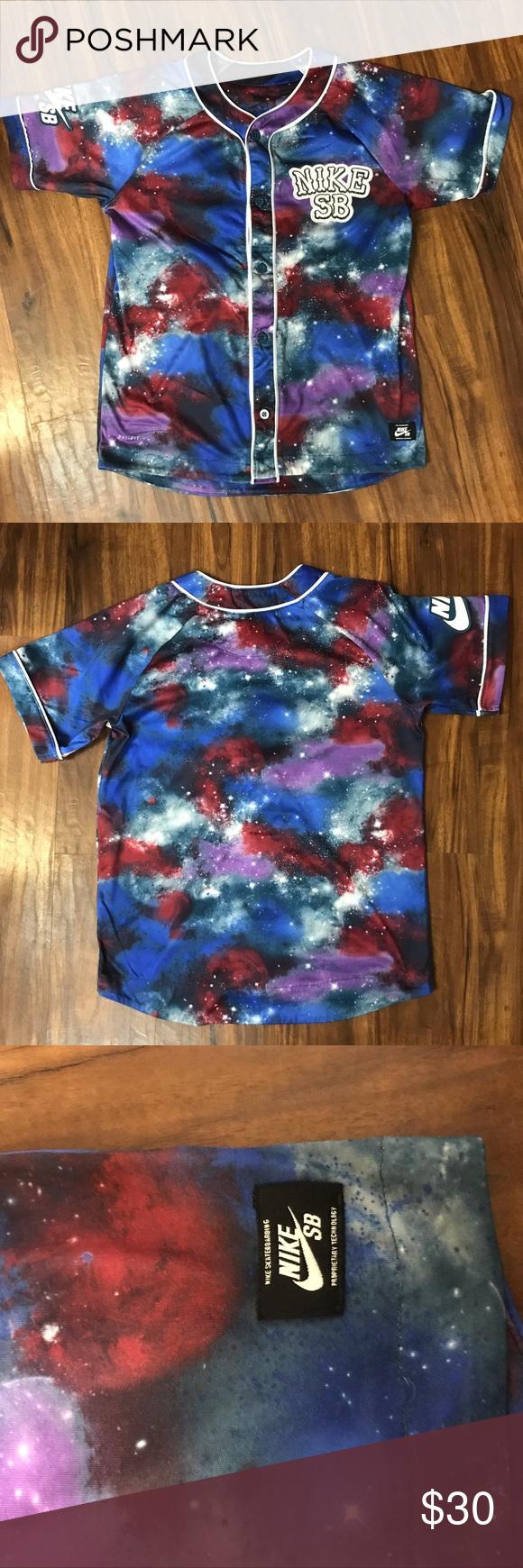 Nike SB Galaxy Baseball Jersey Shirt Size L 12-13 GUC Some ...
