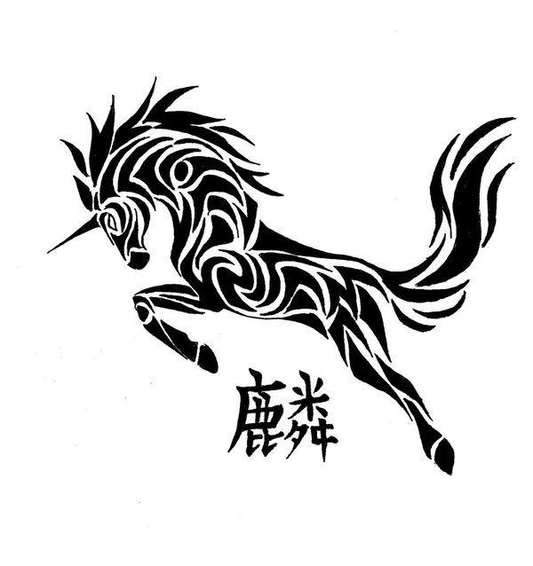 Unicorn Tattoo By Bleckhart Deviantart Com On Deviantart Unicorn Tattoos Unicorn Tattoo Designs Tribal Tattoos