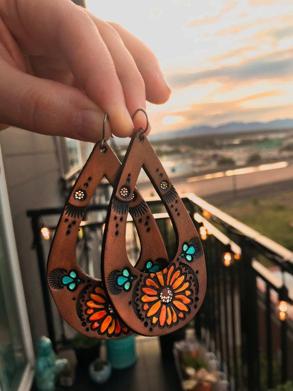 Photo of Teardrop Sunflower and Daisy Leather Earrings – Bohemian jewelry – Pick Your Size – Made to Order – lightweight style