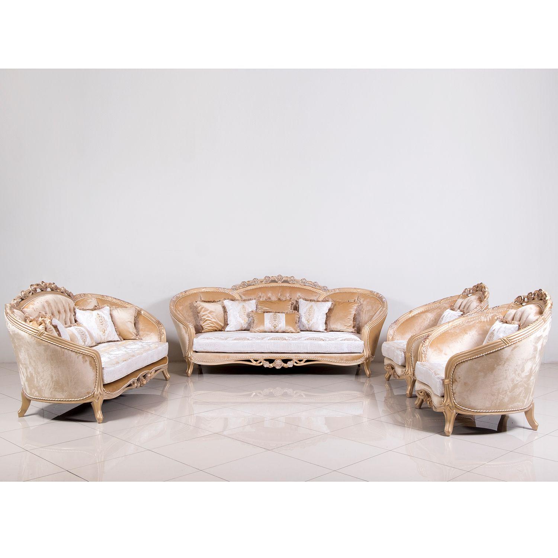 Grand European Luxury Furniture 45001 S Valentina Sofa Tufted Fabric Carved Champagne Mahogany Luxury Furniture Furniture Design Unique Furniture