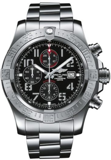 A1337111/BC28 NEW BREITLING SUPER AVENGER II MENS WATCH IN STOCK   - FREE Overnight Shipping | Lowest Price Guaranteed    - NO SALES TAX (Outside California)- WITH MANUFACTURER SERIAL NUMBERS- Black Dial - Chronograph Feature - Self Winding Automatic Chronometer Movement- 3 Year Warranty- Guaranteed Authentic- Certificate of Authenticity- Manufacturer Box