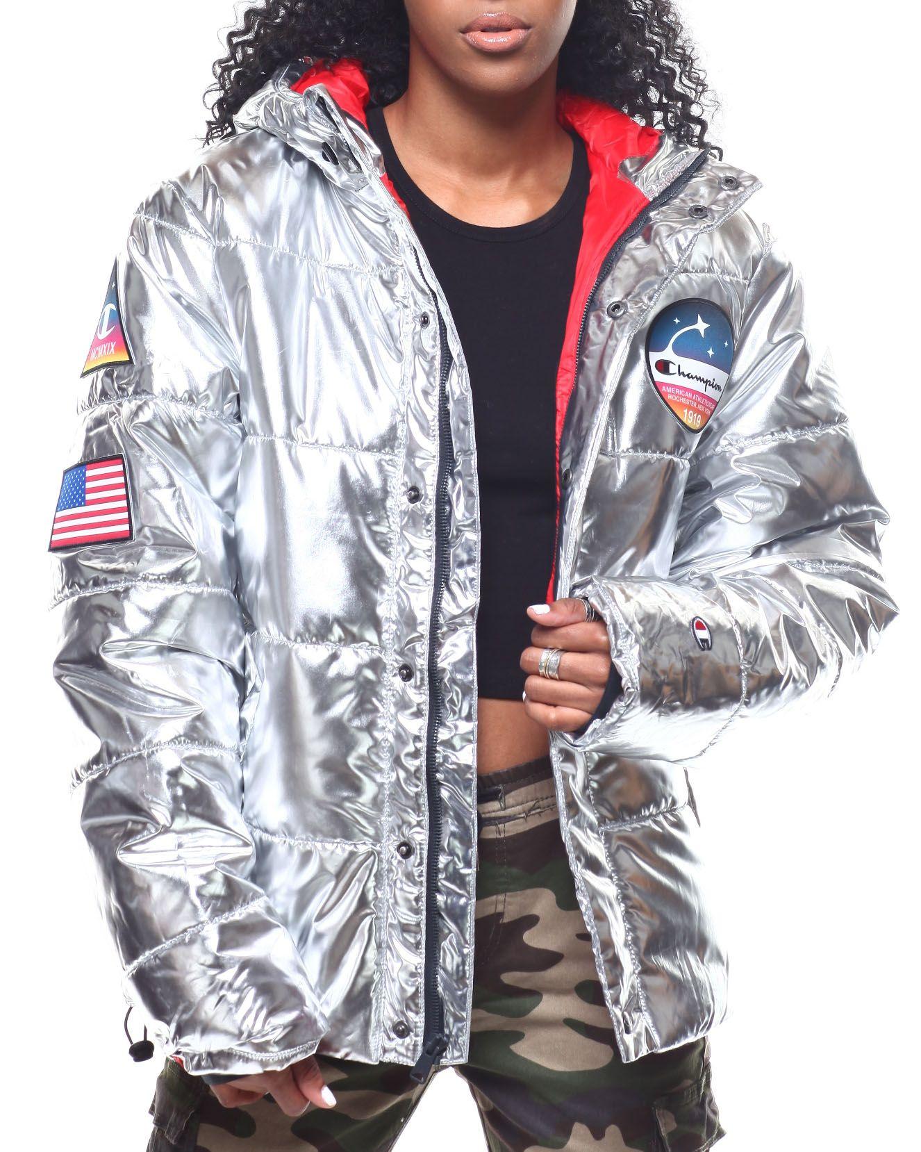 Metallic Puffer Jacket From Champion At Drjays Com Puffer Jacket Women Outerwear Women Jackets [ 1658 x 1326 Pixel ]