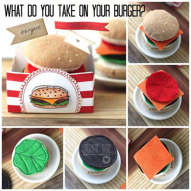 DIY Felt Burger Play food. Ahhhh, this is absolutely ADORABLE!!!