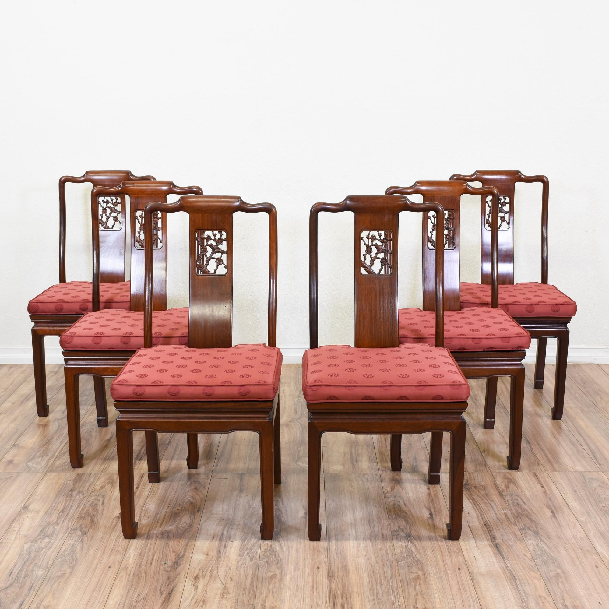 Charmant This Set Of 6 Asian Inspired Dining Chairs Are Featured In A Solid Wood  With A Glossy Rosewood Finish. These Chairs Are In Good Condition With  Intricate ...