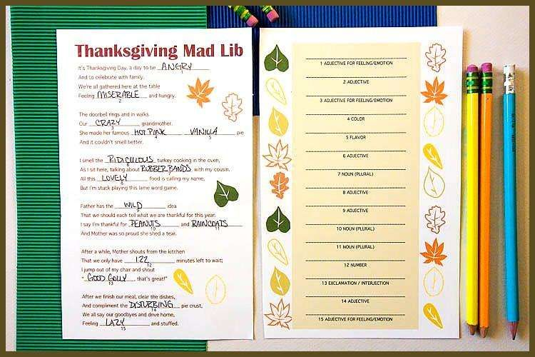 Free Thanksgiving Mad Lib Printable This creative mad lib is a fun Thanksgiving activity to do while family is sitting around the table Its an easy activity for all ages...