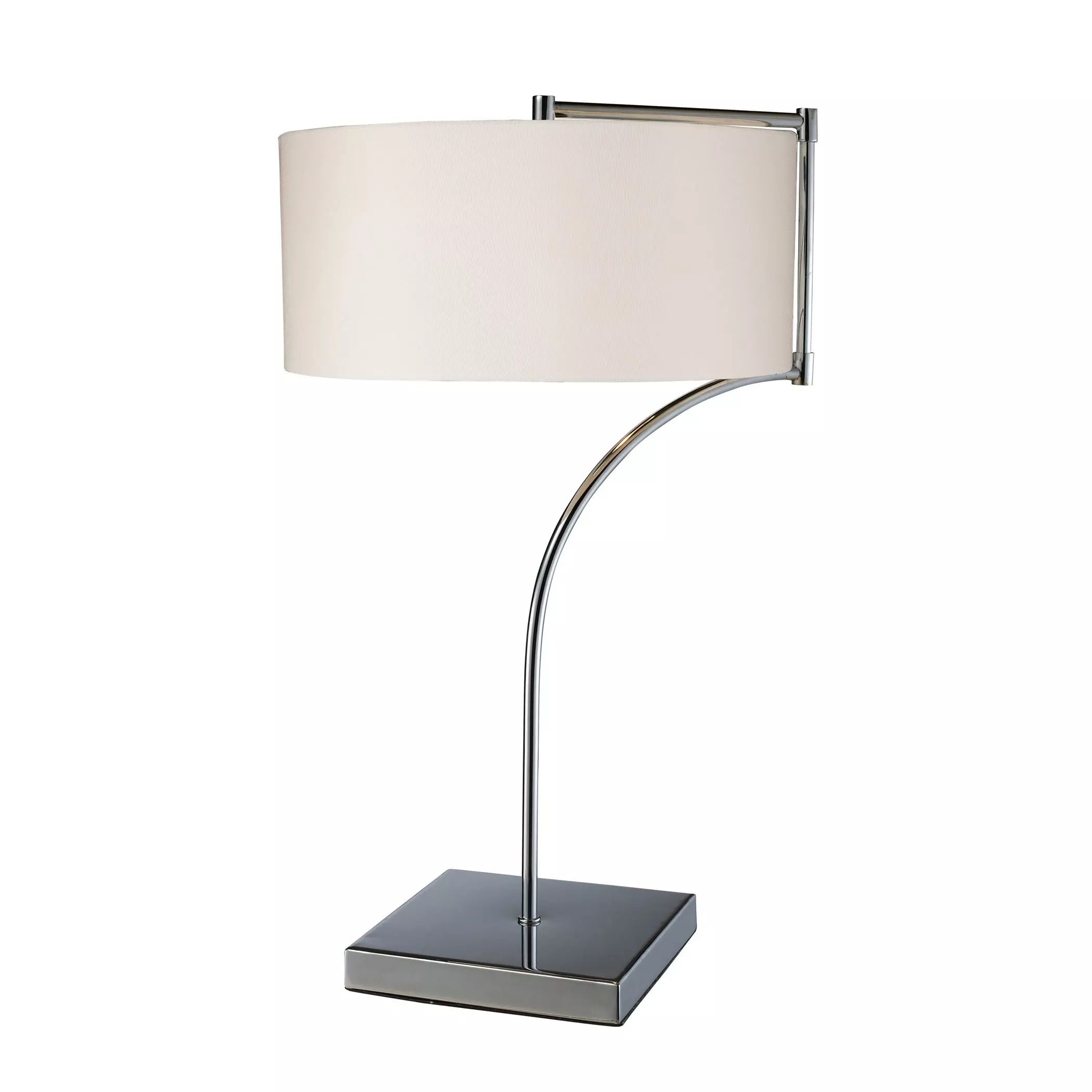 Lancaster LED Table Lamp In Chrome With Milano Pure White Shade