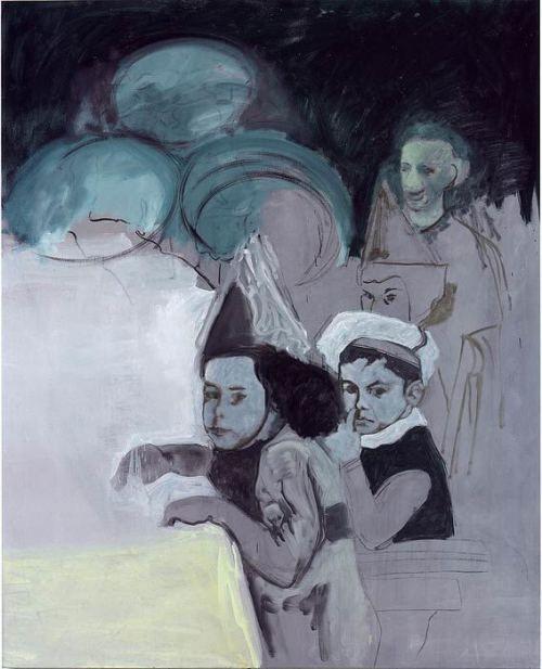 Denis Castellas, untitled (enfants a une fete), 2003, oil on canvas 129 x 157cm