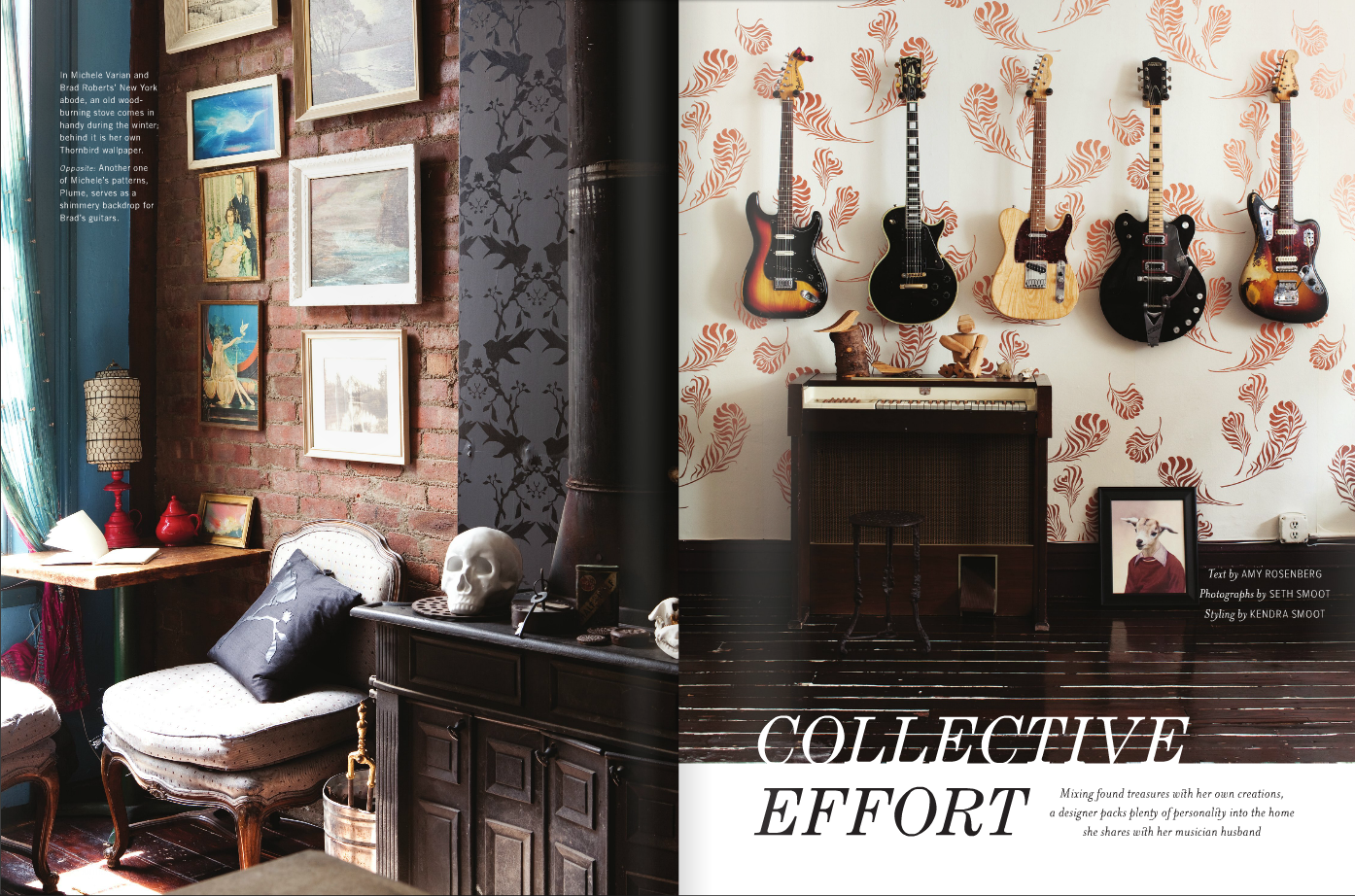 """In Anthology mag: Michele & Brad's apartment with Michele Varian wallpaper and Brad's guitars & optigan & Beat Up Creations """"Kid"""" print."""