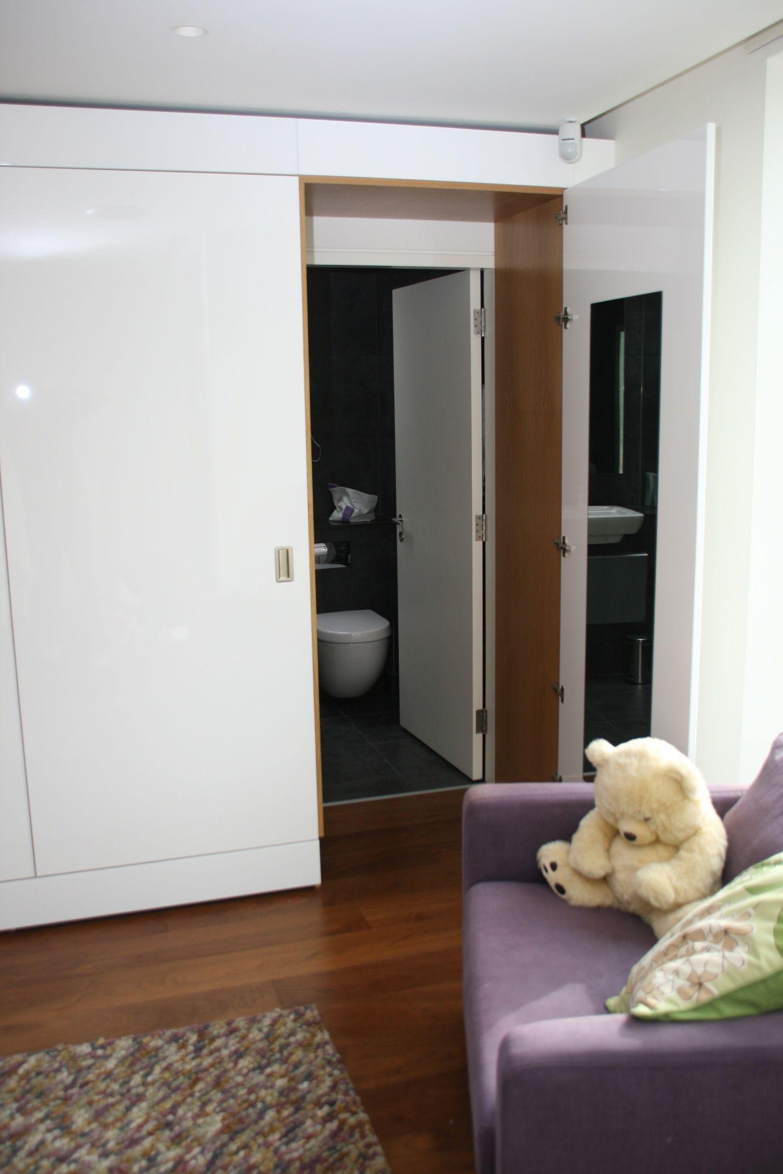High gloss white bedroom furniture with oak veneered