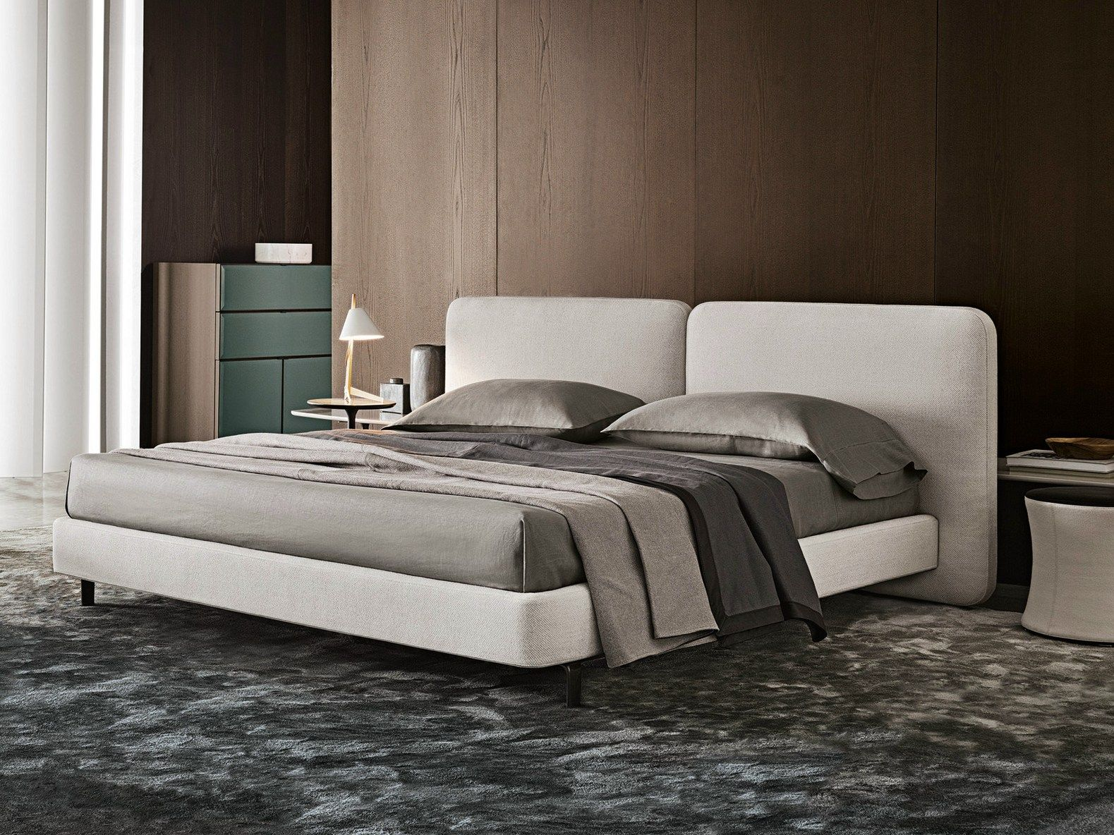 DOUBLE BED WITH UPHOLSTERED HEADBOARD TATLIN-COVER BY MINOTTI ...