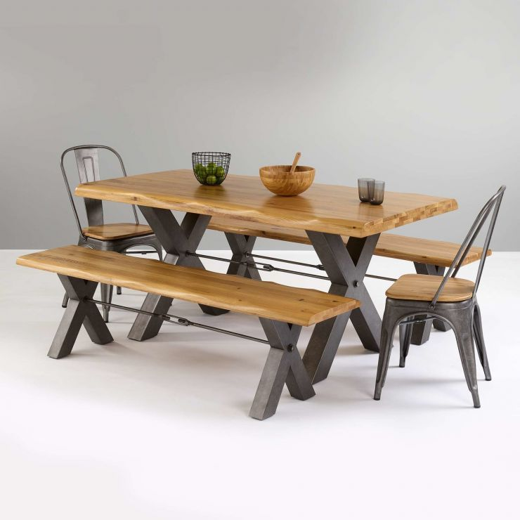 Brooklyn Living Edge Dining Table With 2 Benches And 2 Chairs In