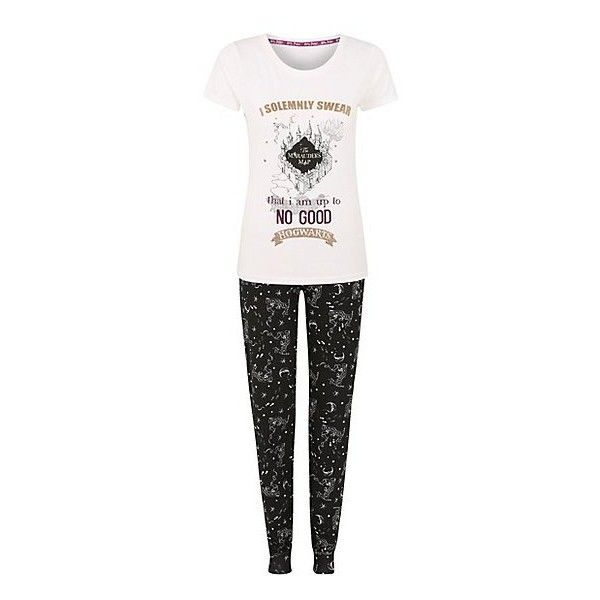 3a3a0d95426e George Harry Potter Marauders Map Pyjama Set ($20) ❤ liked on Polyvore  featuring intimates, sleepwear, pajamas, short sleeve cotton pajamas, ...