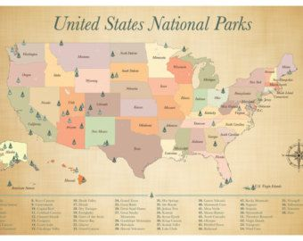 SALE US National Parks Map Push Pin Map Housewarming Gift - National parks on us map