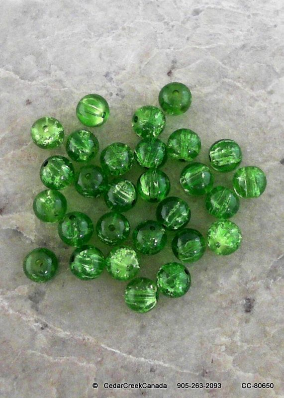 Green 10mm Crackle Glass Beads              CC-80650